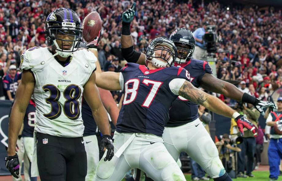 Despite using the first pick of the third round in 2014 on C.J. Fiedorowicz (87), the Texans saw the tight end celebrate only one touchdown in his first year. Photo: Brett Coomer, Staff / © 2014  Houston Chronicle