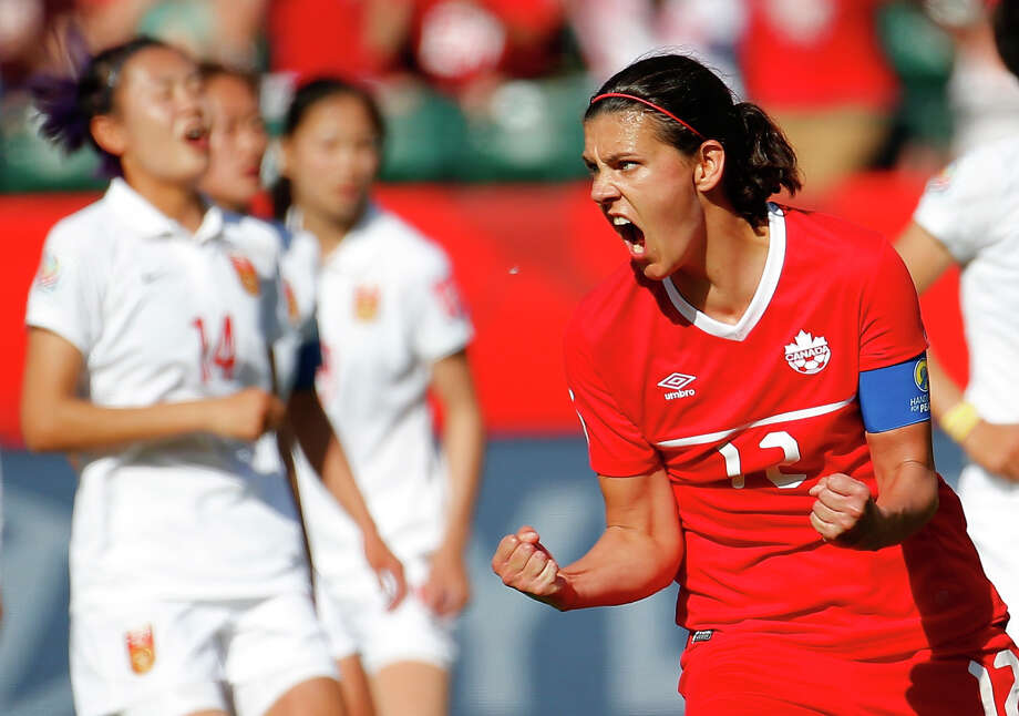 Canada's Christine Sinclair helped the host country to the first win of the tournament with a converted penalty kick in second-half stoppage time. Photo: Kevin C. Cox, Staff / 2015 Getty Images