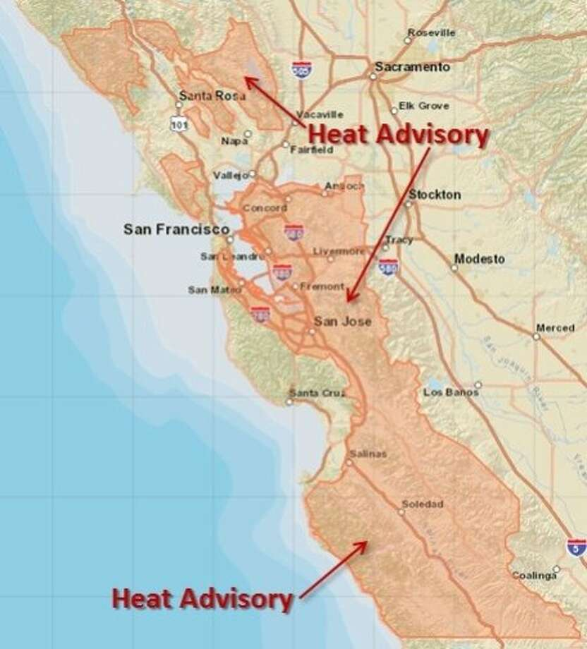 A heat wave was expected to hit the Bay Area Monday, pushing some inland temperatures into the triple digits, forecasters said. Photo: NOAA