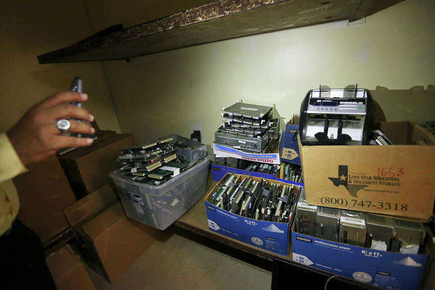 A Hidalgo County District Attorney investigator shows motherboards from eight liners gambling machines confiscate during raids on the establishments, Thursday, June 3, 2015. Hidalgo and Cameron counties have put pressure on gambling establishments forcing most of them to go underground. Last year, Starr county officials embraced this burgeoning industry when it passed a $500 licensing fee per slot machine, touting the $1.7 million it would generate for the county.