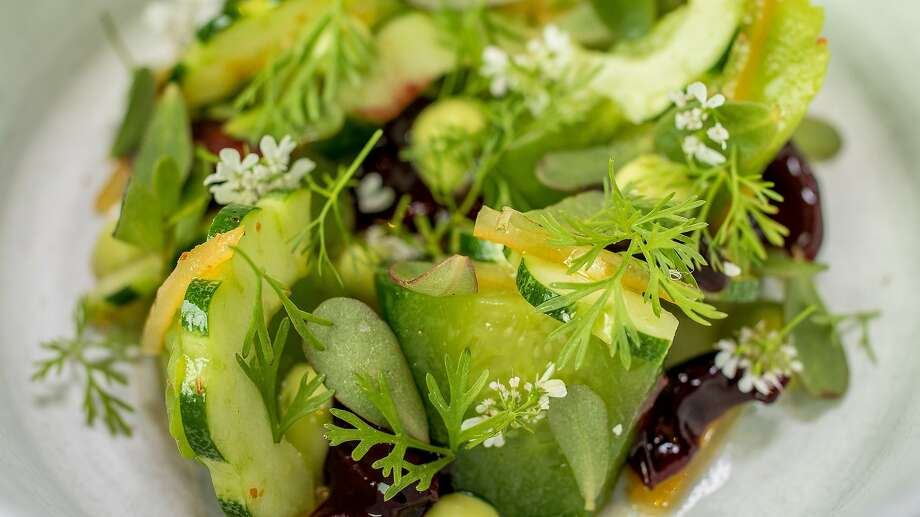 Cucumbers with cherries and preserved lemon at Aster in San Francisco, Calif., is seen on June 6th, 2015. Photo: John Storey, Special To The Chronicle