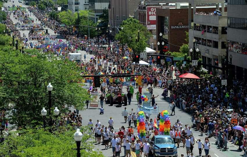 People participate in the Pride Parade in Salt Lake City, Sunday, June 7, 2015. (Francisco Kjolseth/The Salt Lake Tribune via AP)