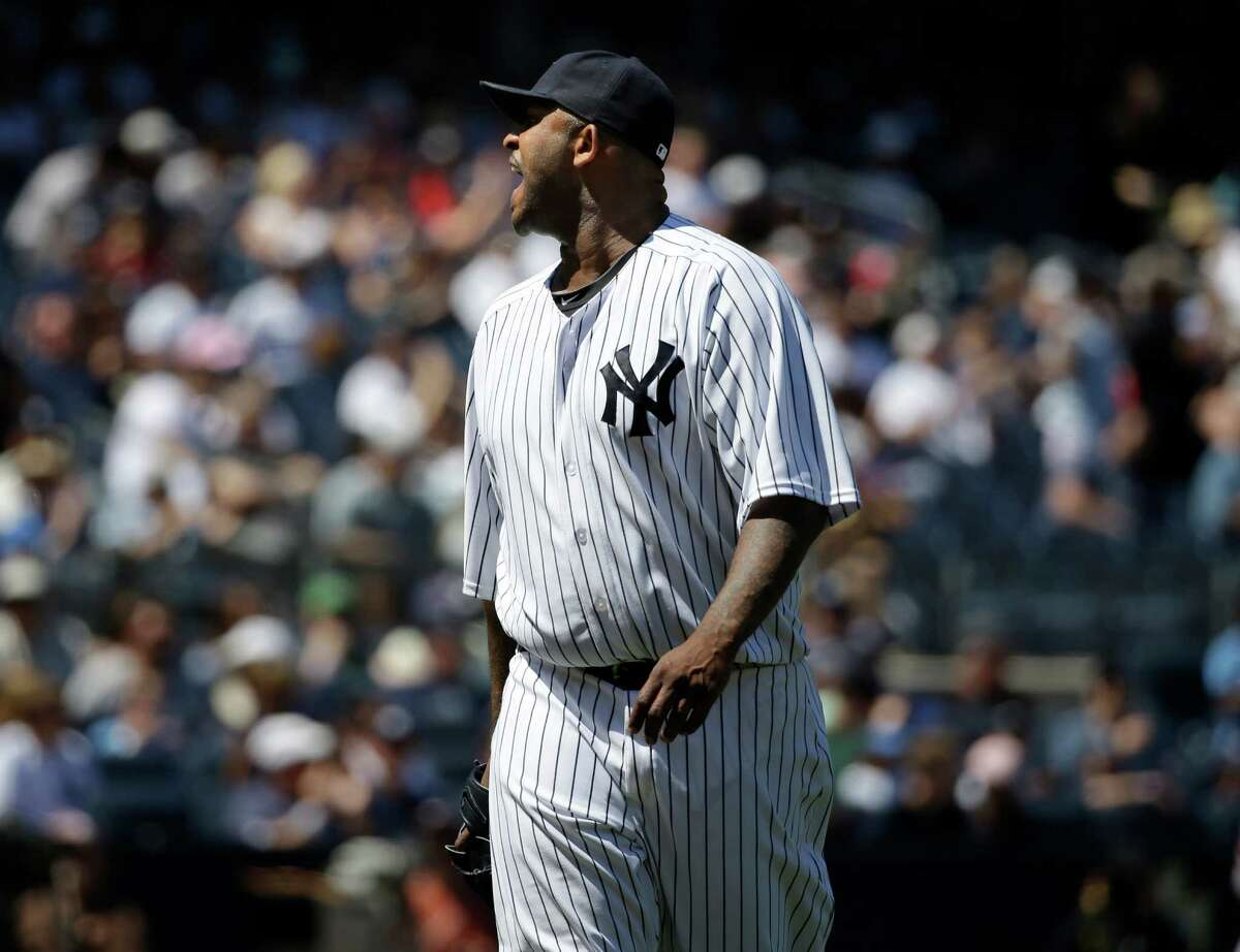 New York Yankees starting pitcher CC Sabathia yells at the home plate umpire during the sixth inning of a baseball game against the Los Angeles Angels, Sunday, June 7, 2015, in New York. Sabathia and manager Joe Girardi were ejected from the game. (AP Photo/Seth Wenig) ORG XMIT: NYY119