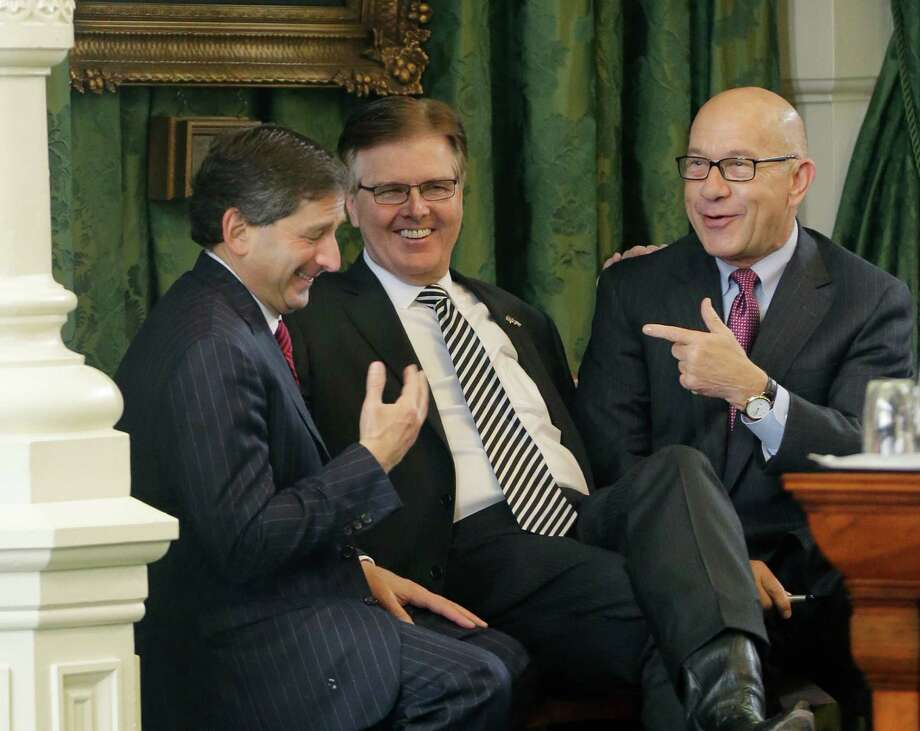 Lt. Gov. Dan Patrick shares a laugh with Sens. Kevin Eltife, left, and John Whitmire, right. Photo: Eric Gay, STF / AP