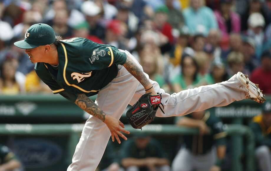 "A's starting pitcher Jesse Chavez, the 1,252nd pick in the 42nd round of the 2002 draft, says, ""It makes me realize you can't take this game for granted. Photo: Michael Dwyer, Associated Press"
