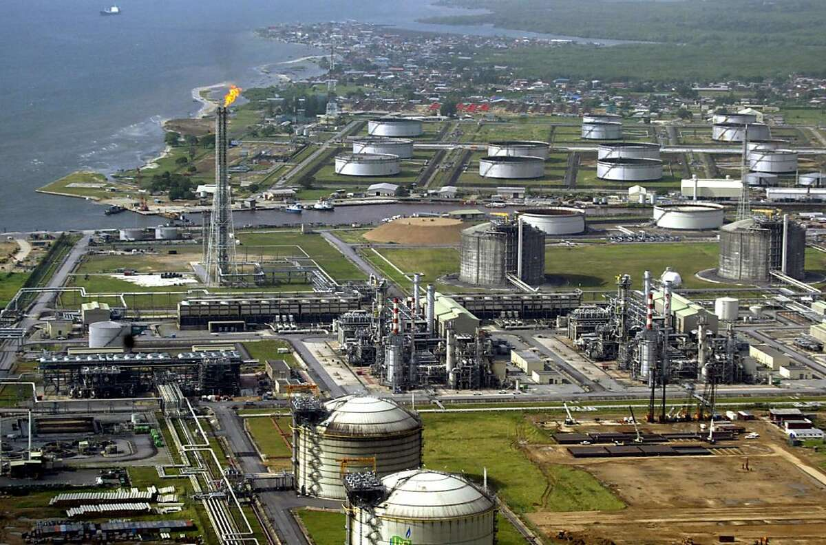 This file photo taken on May 18, 2005 shows Shell's major oil and gas terminal on Bonny Island in southern Nigeria's Niger Delta.