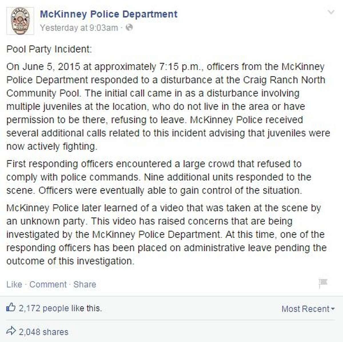 1. Why were police initially called? The McKinney Police Department released a statement saying