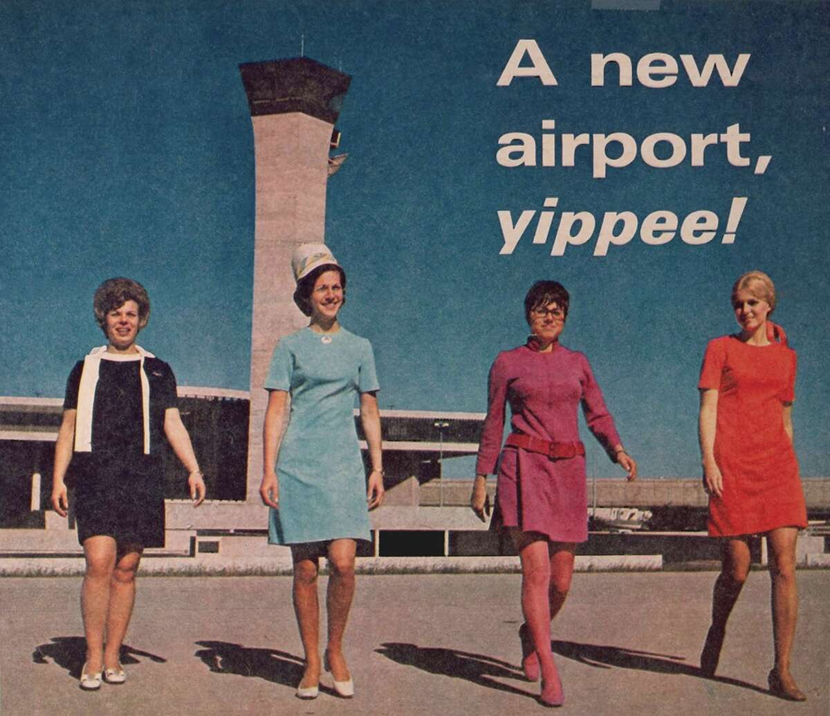 Flight attendant shot for opening of Intercontinental Airport in 1969.