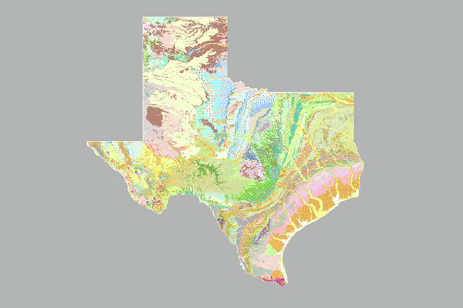 This brightly colored map of Texas rock formations show a hidden side of the Lone Star State that is right under our feet. See if you can guess the Texas city based on the rocks that form each landscape. Photo: U.S. Geological Survey