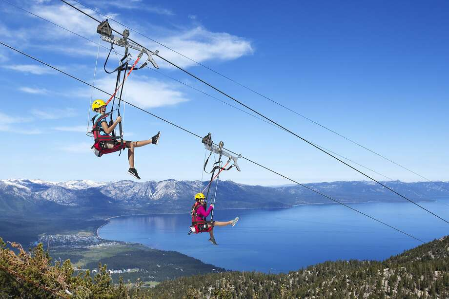Blue Streak Zip Line at Heavenly Mountain. Camila Souza, Viviane P. Claro, Ryan Parker, Marina Abreu, and Suellen Sandri riding the Heavenly Flyer zip line at Heavenly Mountain Resort, South Lake Tahoe, CA. Photo: Heavenly Mountain Resort