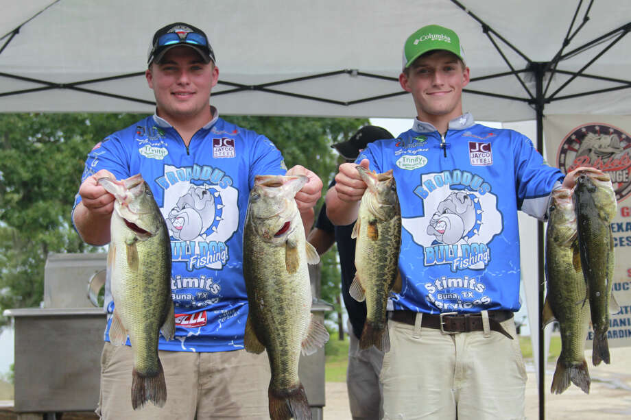 Thomas Vardeman & Zaryon Price from Broaddus High School take First Place, with a five fish limit of bass total weight of 19.90 lbs, and the Big Bass of the tournament as a kicker, a 6.97 pounder.  Photo by Carla Moorhead, Lakecaster
