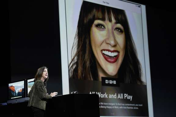 Susan Prescott, vice president of product marketing for Apple Inc., speaks during the Apple World Wide Developers Conference (WWDC) in San Francisco, California, U.S., on Monday, June 8, 2015. Apple Inc. kicked off its annual developers conference in San Francisco, where the company will unveil a revamped streaming-music service, improvements to its mobile software and tools to speed up smartwatch applications. Photographer: David Paul Morris/Bloomberg *** Local Caption *** Susan Prescott
