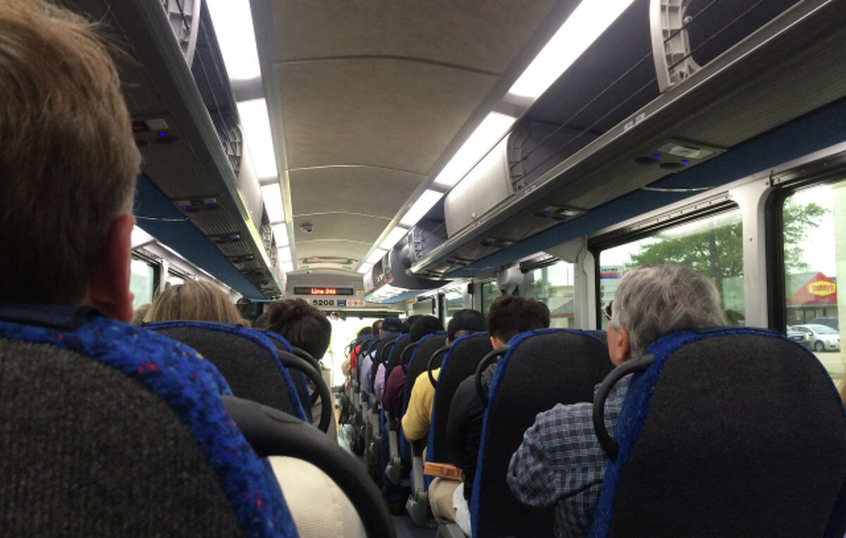 A packed 246 Bay Area commuter bus.