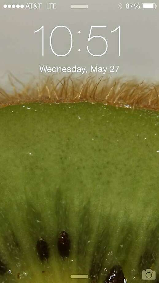 Coi pastry chef Nick Muncy's home screen on his iPhone 5 shows a super close look at the inside of a kiwi.