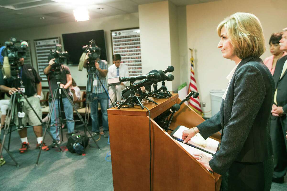 Harris County District Attorney Devon Anderson announces that the conviction of Alfred Dewayne Brown was thrown out during a news conference on Monday, June 8, 2015, in Houston. Brown's conviction and death sentence, involving the 2003 fatal shooting of Houston Police officer Charles Clark and store clerk Alfredia Jones, was reversed, based on evidence being withheld by prosecutors.