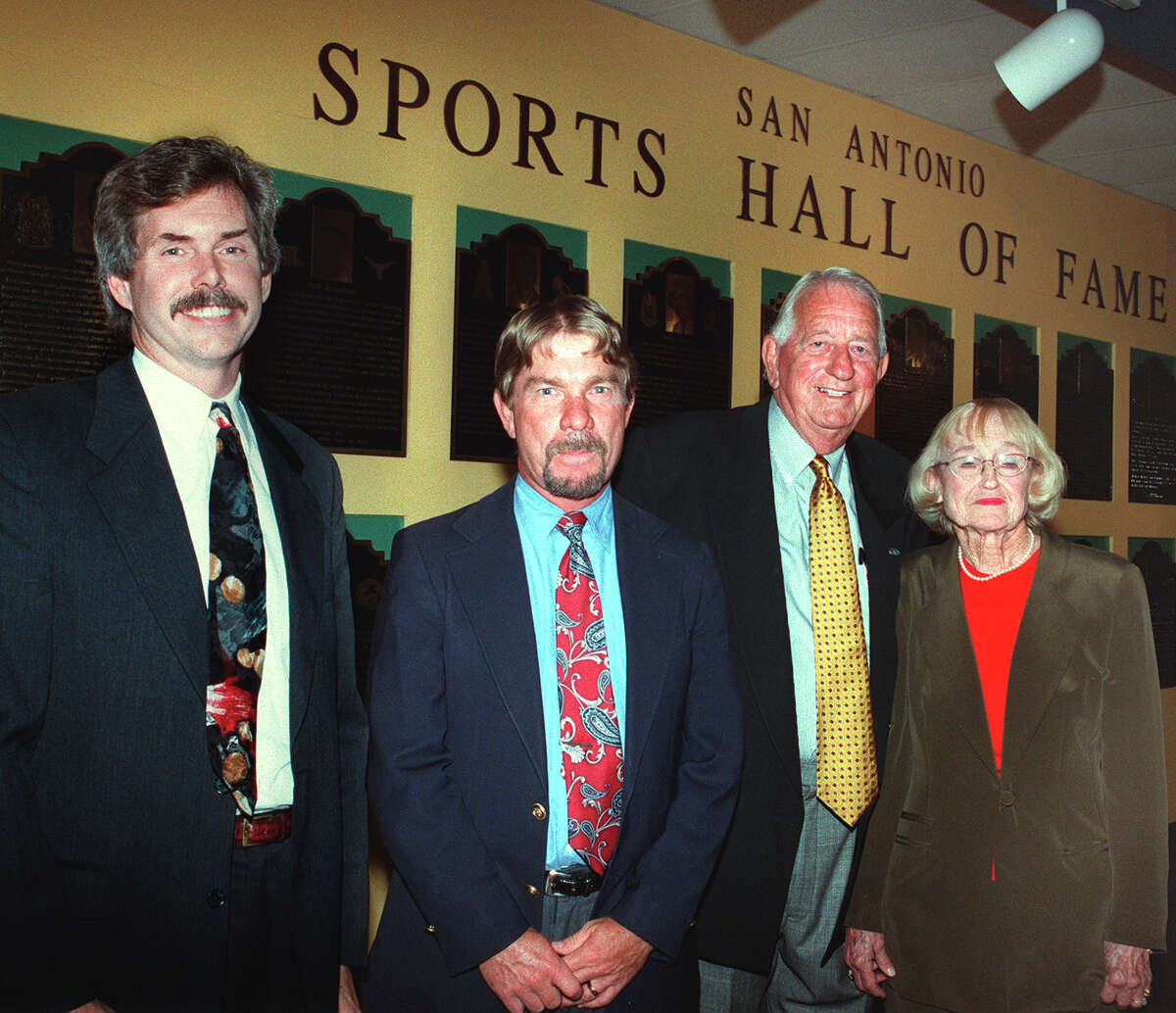 The 2000 class of the San Antonio Sports Hall of Fame included Joe Williams (not shown); Bob Nieman; Bob McKinley, brother of the late Chuck McKinley; Jimmy Littleton; and Margaret Swan Forbes.