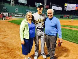 Pat Venditte with his parents Janet and Pat Sr. at Fenway Park after Venditte's major-league debut Friday night.