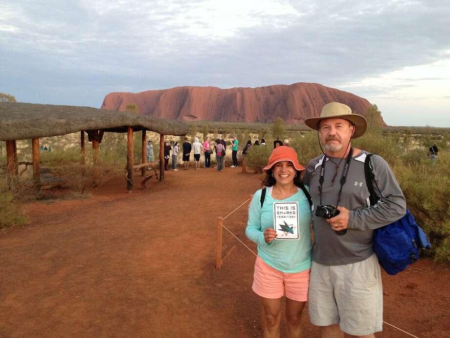 Don and Carol McIntyre at Uluru at sunrise.