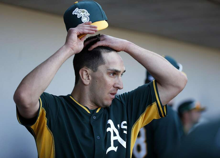 Oakland Athletics' Pat Venditte after a scoreless inning against Chicago Cubs in Spring Training Cactus League game at Sloan Park in Mesa, Arizona, on Thursday, March 5, 2015. Photo: Scott Strazzante, The Chronicle