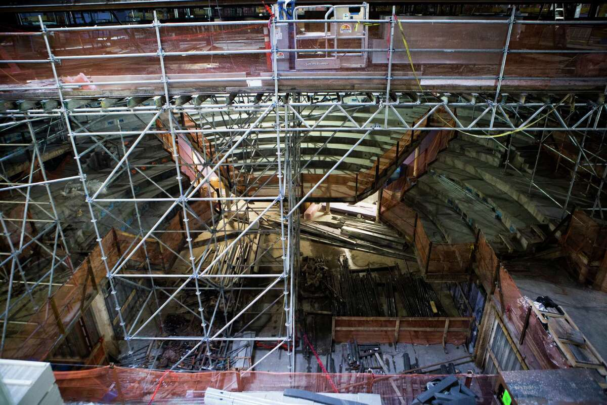 View of the Alley Theatre Patricia Peckinpaugh Hubbard Stage seating area. The Alley Theatre has been under construction since the summer 2014 and construction crews will be leaving the site by July 15, 2015. Friday, J