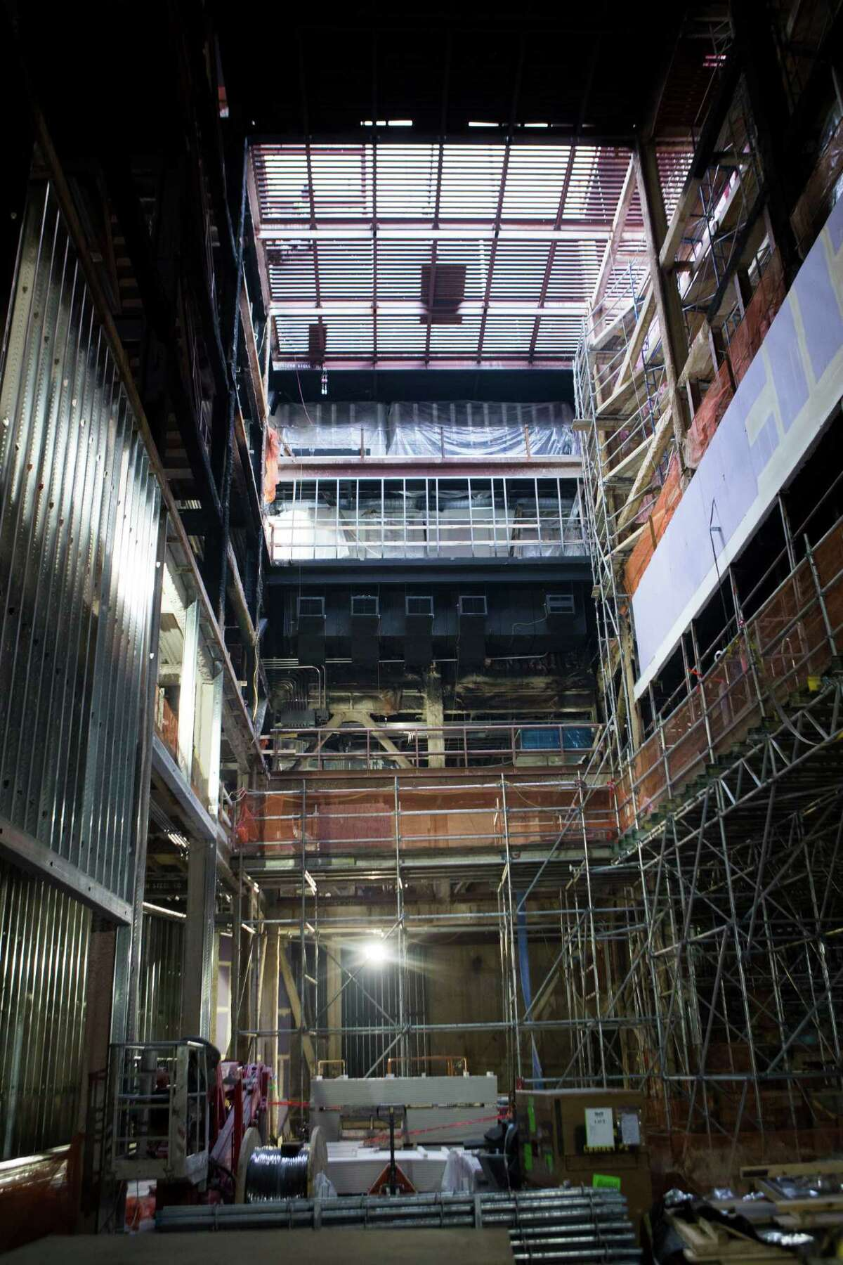 View of the Alley Theatre Patricia Peckinpaugh Hubbard Stage which is under remodeling and is expected to be finished by July 15, 2015.