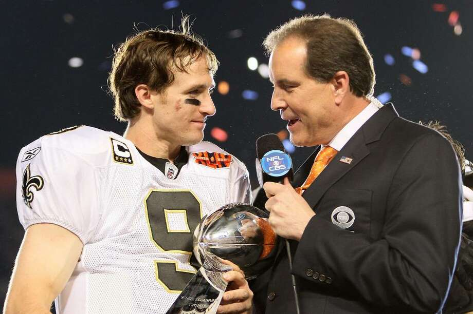 MIAMI GARDENS, FL - FEBRUARY 07:  Quarterback Drew Brees #9 of the New Orleans Saints is interviewed by CBS announcer Jim Nantz after the Saints defeated the Indianapolis Colts during Super Bowl XLIV on February 7, 2010 at Sun Life Stadium in Miami Gardens, Florida.  (Photo by Andy Lyons/Getty Images) Photo: Andy Lyons, Getty Images / 2010 Getty Images