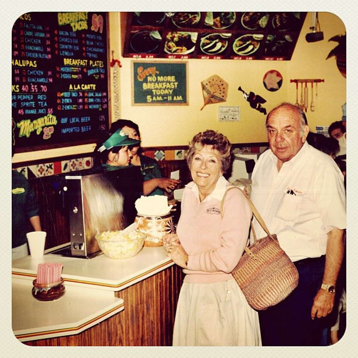Taco Cabana founders Felix and Billie Jo Stehling in one of their restaurants.