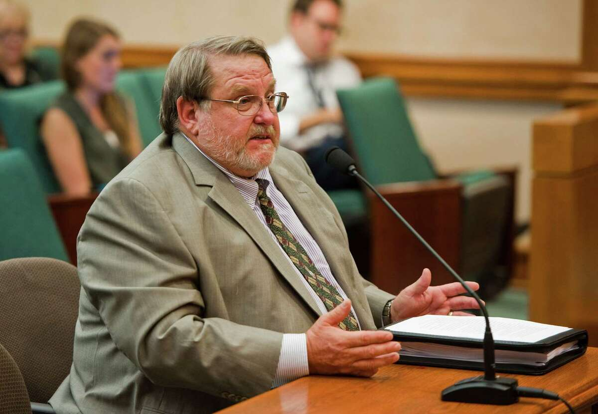 Dr. Craig Pearson, seismologist for the Texas Railroad Commission, speaks during a meeting by the state House Energy Subcommittee on Seismic Activity at the Texas state capitol on Mon.Aug. 24, 2014. Ashley Landis / For the Chronicle