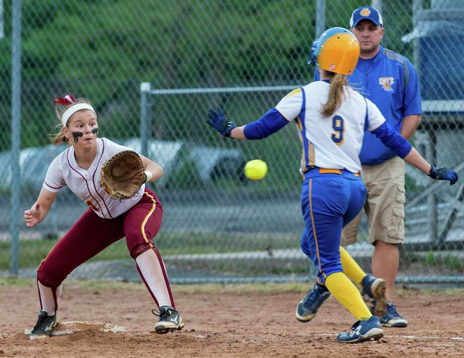 St. Joseph high schoolâÄôs Melissa Bike gets the throw in time to get Seymour high schoolâÄôs Caitlyn O'Hara during a CIAC class M semifinal softball game played at Deluca Field, Stratford, CT on Monday, June 8th, 2015. Photo: Mark Conrad / Connecticut Post Freelance