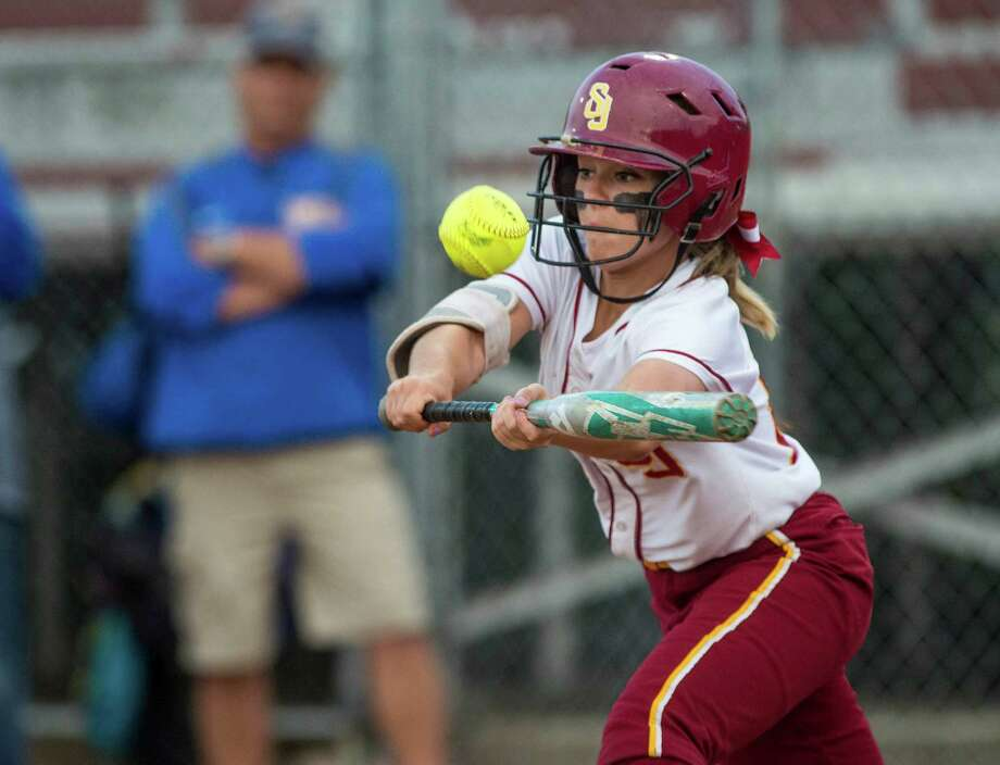 St. Joseph high schoolâÄôs Hanna Errico tries to bunt the ball during a CIAC class M semifinal softball game against Seymour high school played at Deluca Field, Stratford, CT on Monday, June 8th, 2015. Photo: Mark Conrad / Connecticut Post Freelance