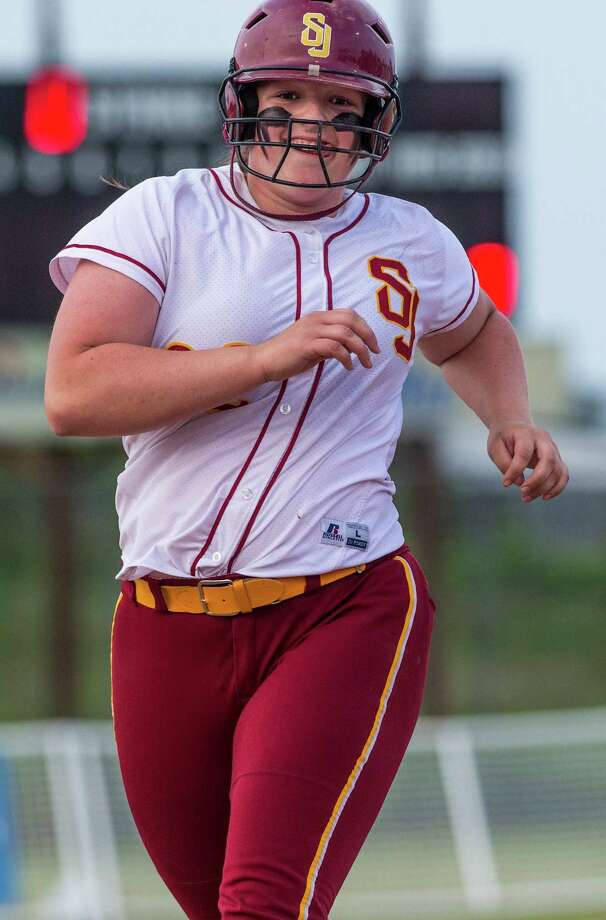 St. Joseph high schoolâÄôs Nicole Williams jogs to home after hitting a home run during a CIAC class M semifinal softball game against Seymour high school played at Deluca Field, Stratford, CT on Monday, June 8th, 2015. Photo: Mark Conrad / Connecticut Post Freelance