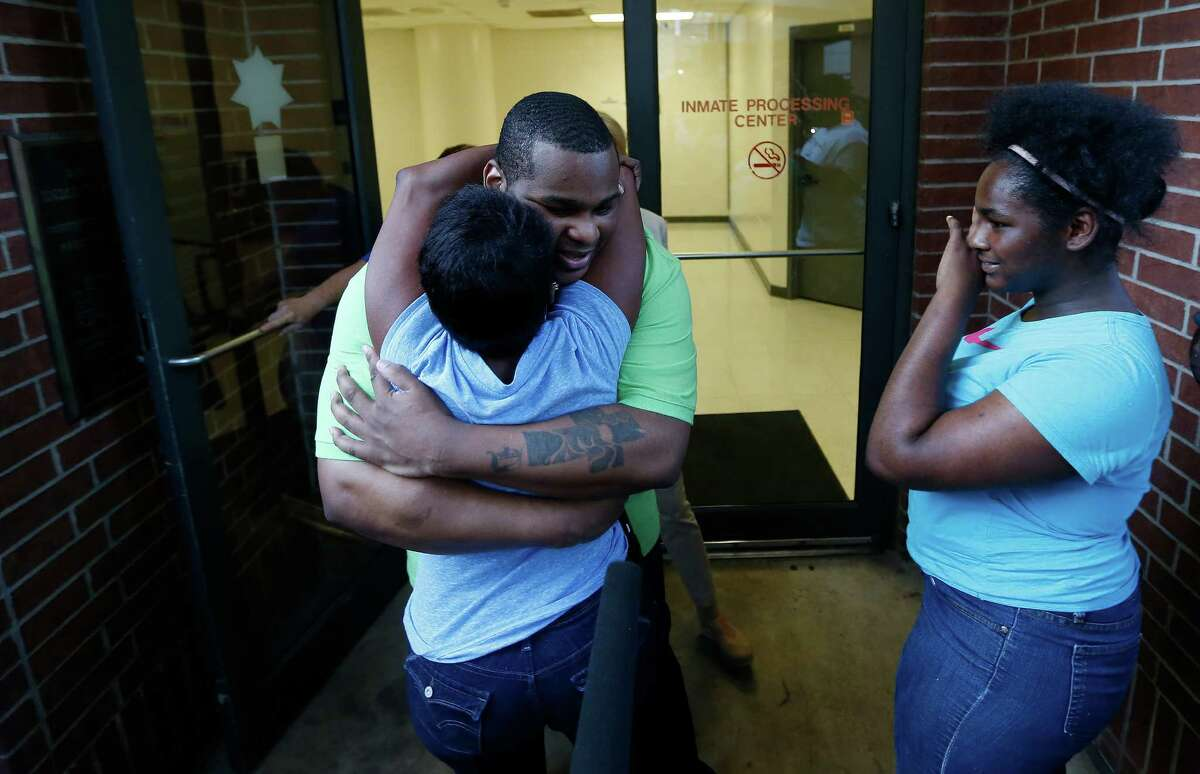 Alfred Brown greets his sister Connie Brown upon his release from the Harris County Jail on Monday.