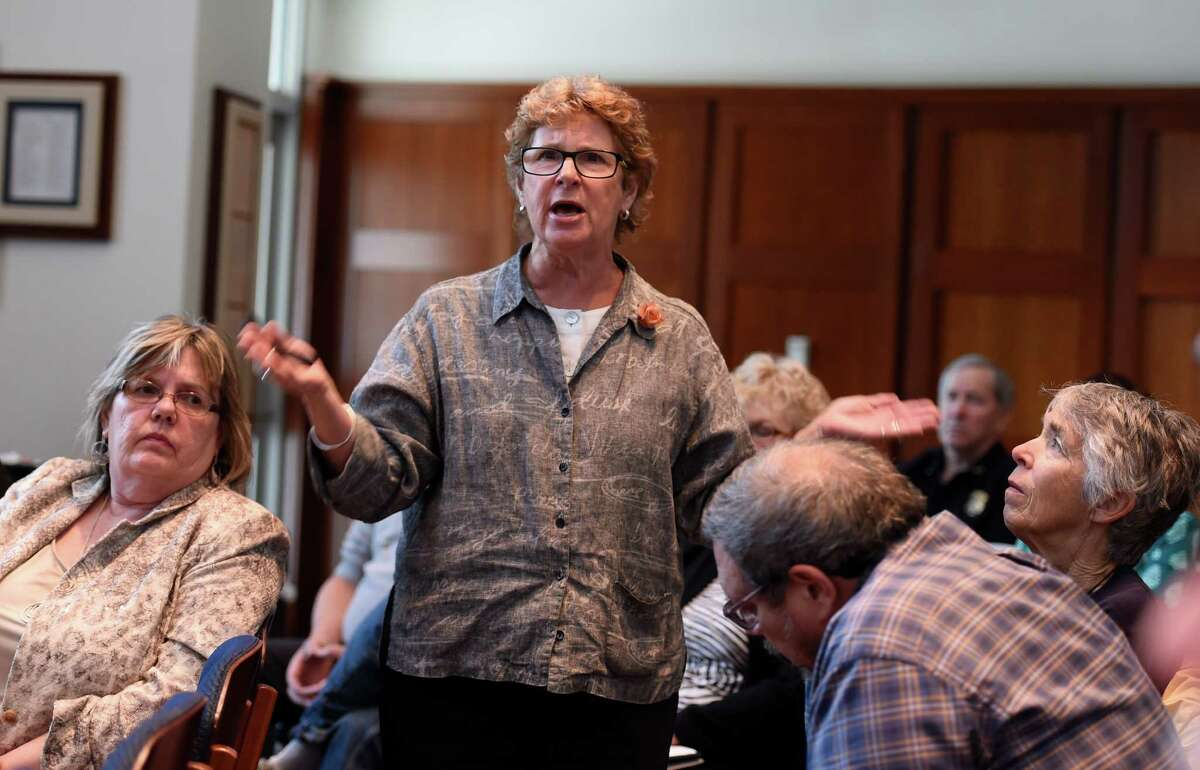 A person from the audience voices her opinion at the crude oil summit held Monday morning at the College of Saint Rose June 8, 2015 in Albany, N.Y. (Skip Dickstein/Times Union)