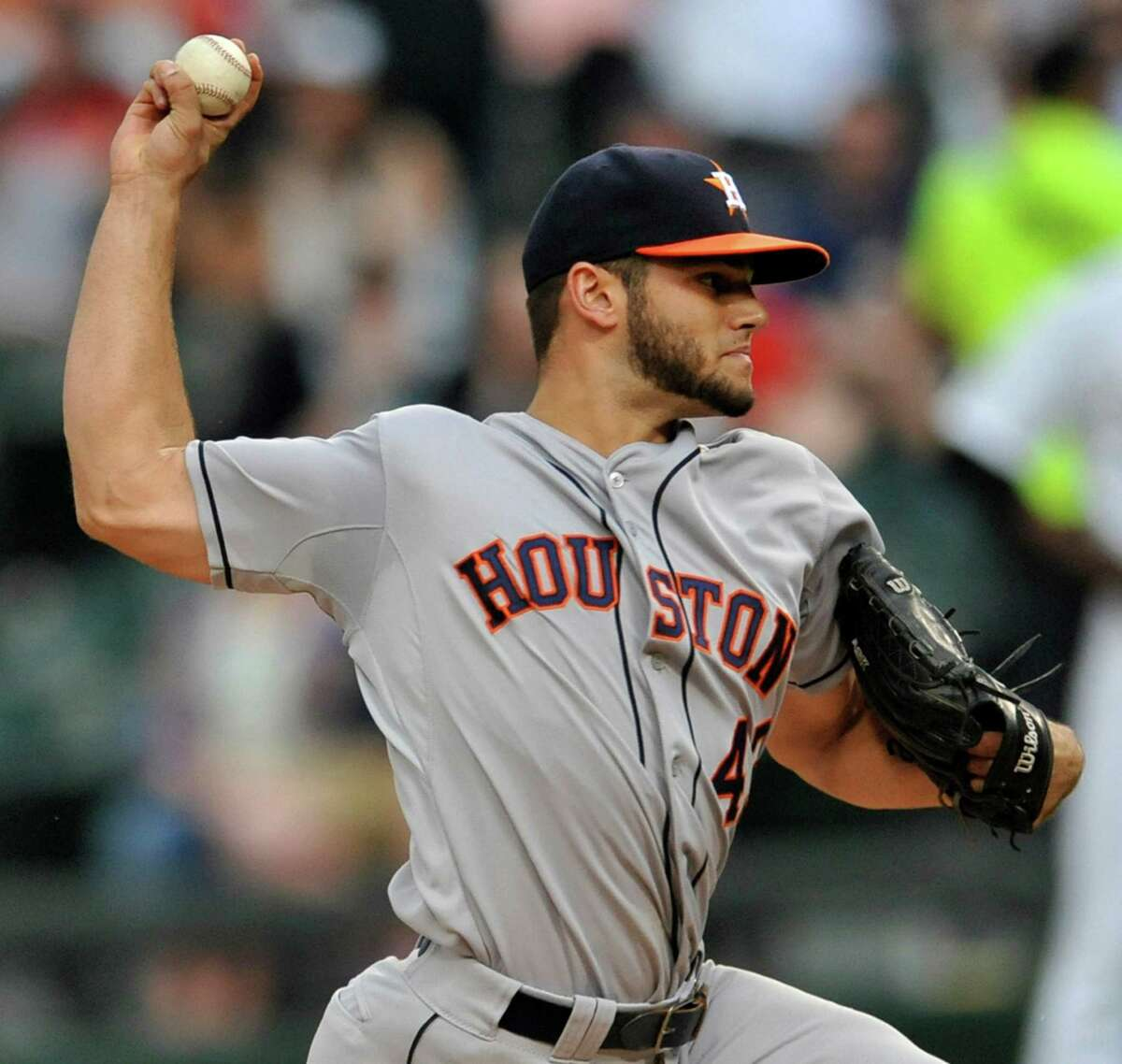 Houston Astros starter Lance McCullers delivers a pitch during the first inning of an inter league baseball game against the Chicago White Sox Monday, June 8, 2015 in Chicago. (AP Photo/Paul Beaty)