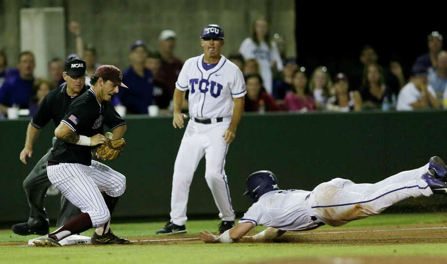 TCU's Evan Skoug (9) slides safely into third on a triple off of Texas A&M pitcher Andrew Vinson as third baseman Logan Nottebrok loses control of the ball during the sixth inning of a super regional of the NCAA college baseball tournament in Fort Worth, Texas, Monday, June 8, 2015. (AP Photo/Tim Sharp) Photo: Tim Sharp, Associated Press / FR62992 AP