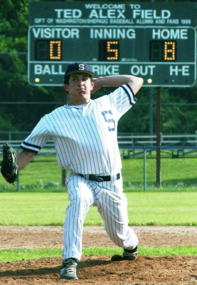 Shepaug Valley School sophomore Austin Dutcher leans into a pitch during his recent 8-2 victory over Northwestern Regional at Ted Alex Field in Washington Depot. The Spartan southpaw's performance sparked a three-game win streak for coach Scott Werkhoven's 10-10 diamond squad,  which was set to open a possible state class 'S' tournament run Monday, June 1 at Old Lyme. Photo: Norm Cummings / The News-Times