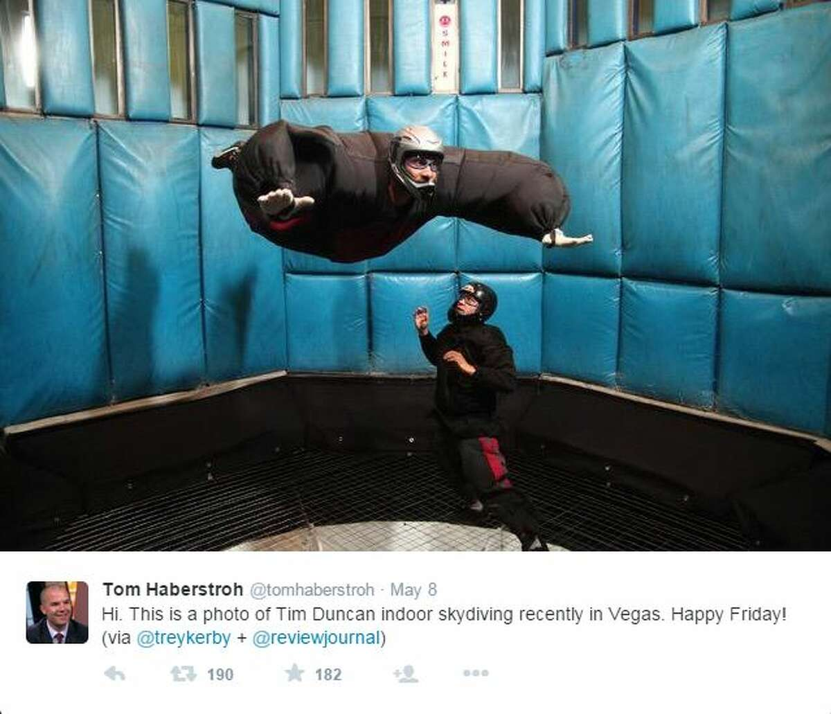 2. Tim Duncan  The living legend indoor skydived in Las Vegas, according to this photo Tweeted by ESPN NBA Insider, @tomhaberstroh.