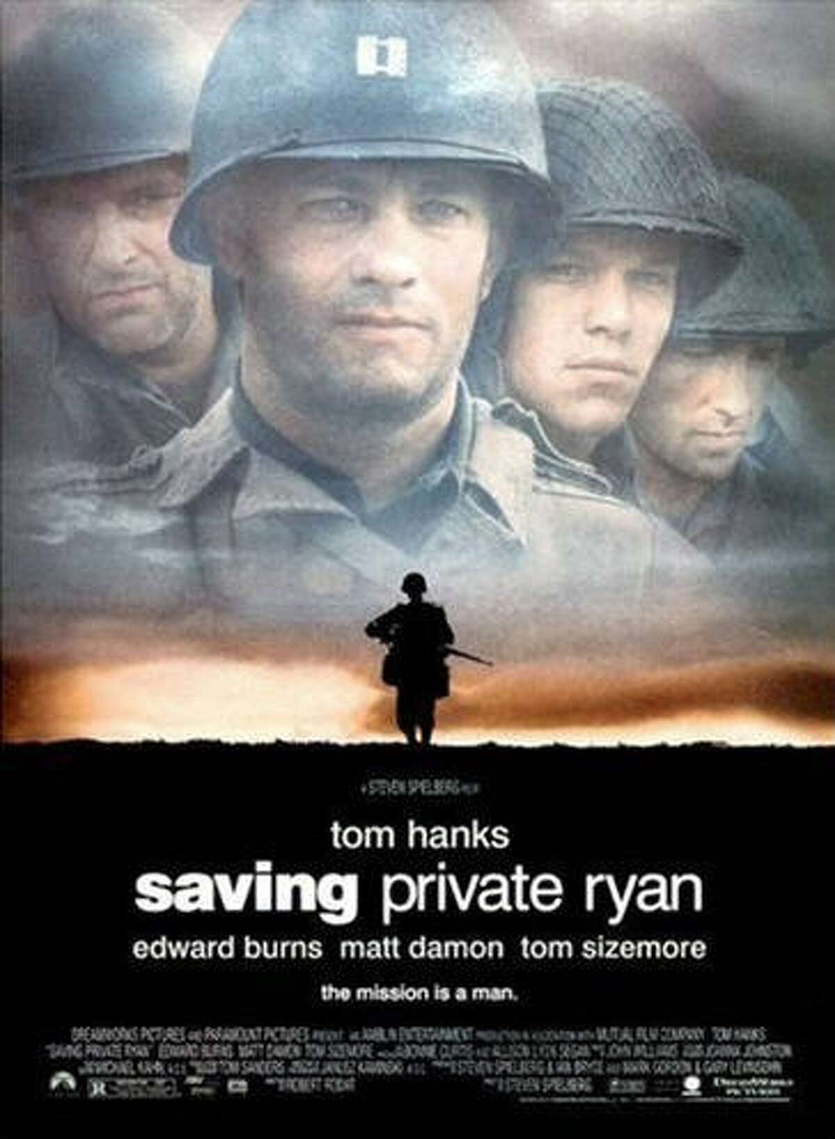 """""""Saving Private Ryan"""" Plot: A small but elite band of soldiers searches the European countryside during World War II for a private who has been given a free pass home from the cruelty of war. American Themes: Waving the Flag, Loyalty to Friends, Fighting for Your Country, The Underdog, Winning Dubya-Dubya-Two, Fighting for What's Right, Beating the Bad Guys. RottenTomatoes.com Score: 92 percent."""