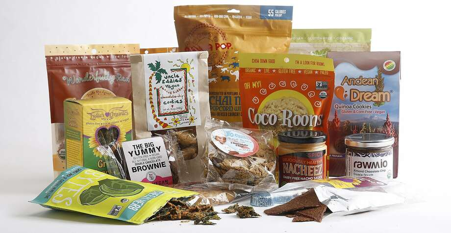 A collection of locally-made vegan snack foods gathered in San Francisco, California, on Monday, June 8, 2015. Photo: Liz Hafalia, The Chronicle