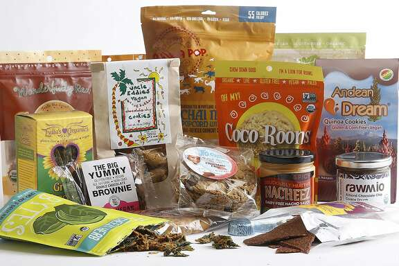 A collection of locally-made vegan snack foods gathered in San Francisco, California, on Monday, June 8, 2015.