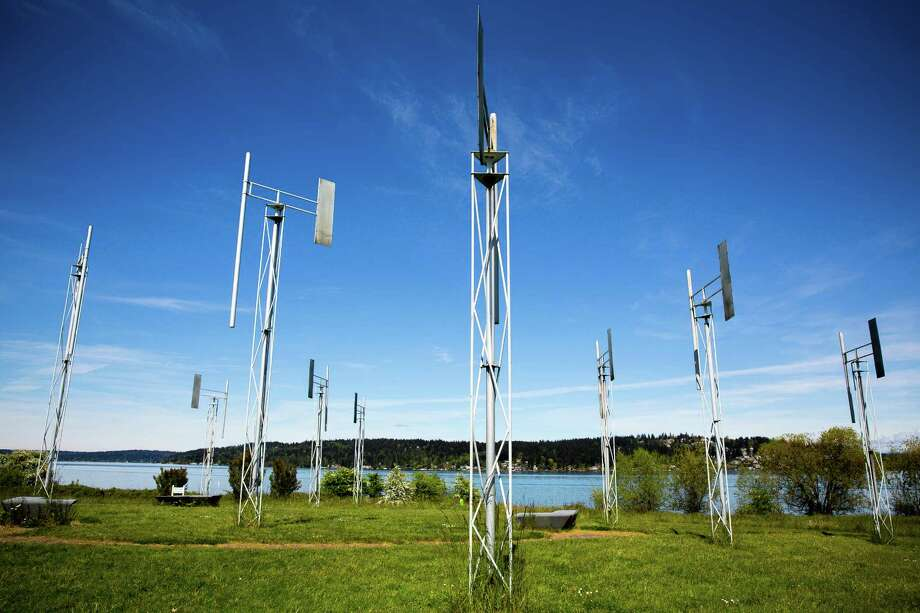 "Designed in the early 1980s by sculptor Douglas Hollis, ""A Sound Garden"" and photographed April 27, 2015, in Magnuson Park in Seattle. The piece features 12 steel structures with built in organ pipes that produce tones when the wind blows around and through them. Photo: JORDAN STEAD, SEATTLEPI.COM / SEATTLEPI.COM"