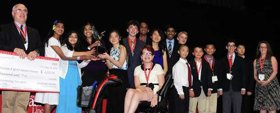 The Science Olympiad team from Bedford Middle School is shown after winning the Lockheed Martin Spirit Award at the national competition in Nebraska. Photo: Contributed Photo / Contributed Photo / Westport News