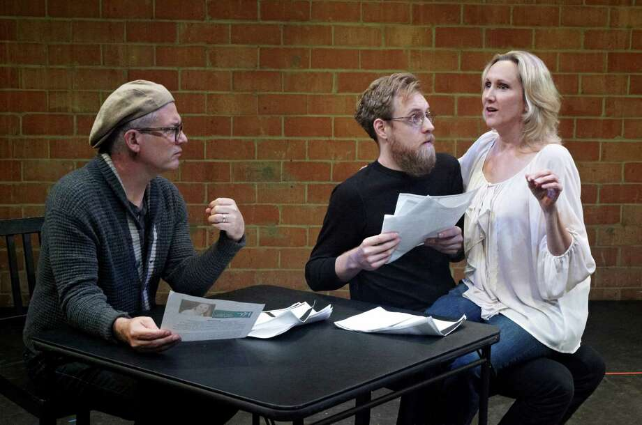 """Philip Lehl, left, Philip Hays and Kim Tobin-Lehl rehearse a scene in Stark Naked Theatre Co.'s production of """"Stage Kiss"""" by Sarah Ruhl. Photo: Stark Naked Theater Co."""