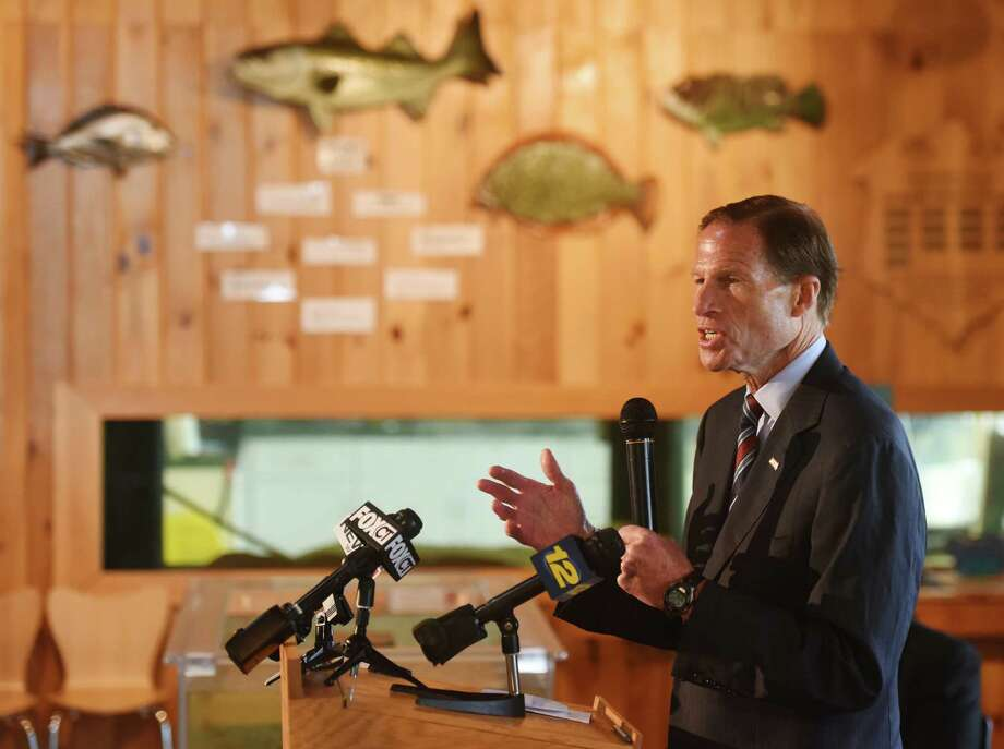 U.S. Sen. Richard Blumenthal speaks at the National Fish and Wildlife Foundation Long Island Sound Report Card event at the Sherwood Island State Park Nature Center in Westport on Monday. Photo: Tyler Sizemore / Staff Photographer / Greenwich Time