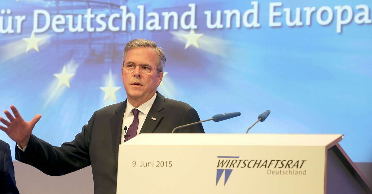 Jeb Bush, possible candidate for US president in 2016, gives a speech during a meeting of the Economic Council of Germany's Christian Democratic Party (CDU) in Berlin on June 9, 2015.