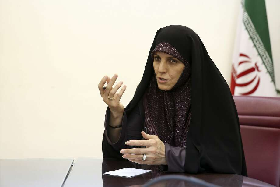 Vice President for Women and Family Affairs Shahindokht Molaverdi said a limited number of women will be allowed to watch Volleyball World League games in Tehran later this month as it lifts a ban on Iranian women attending male sporting events. Photo: Ebrahim Noroozi, Associated Press