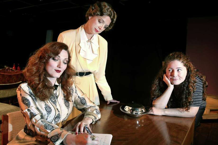 "Annabelle Xanthos of Meyerland, right portrays mischievous teenager Dinah Lord in Theatre Southwest's production of Philip Barry's 1939 romantic comedy ""The Philadelphia Story,"" which runs through June 20. Also performing is Autumn Woods as Tracy Lord, left,  and Bailey Hampton as Margaret. Photo: Scott McWhirter"