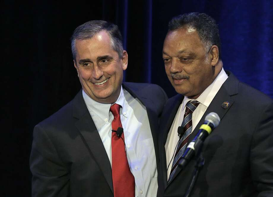 Intel CEO Brian Krzanich meets with the Rev. Jesse Jackson last month. Jackson has pushed diversity at Silicon Valley firms. Photo: Ben Margot, Associated Press