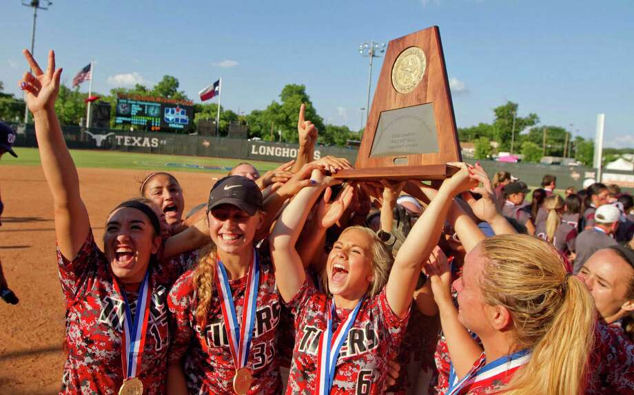 Katy players celebrate after winning the Class 6A state title after the UIL State Softball Championship in Austin last weekend. Photo: Jason Fochtman, MBR / Conroe Courier