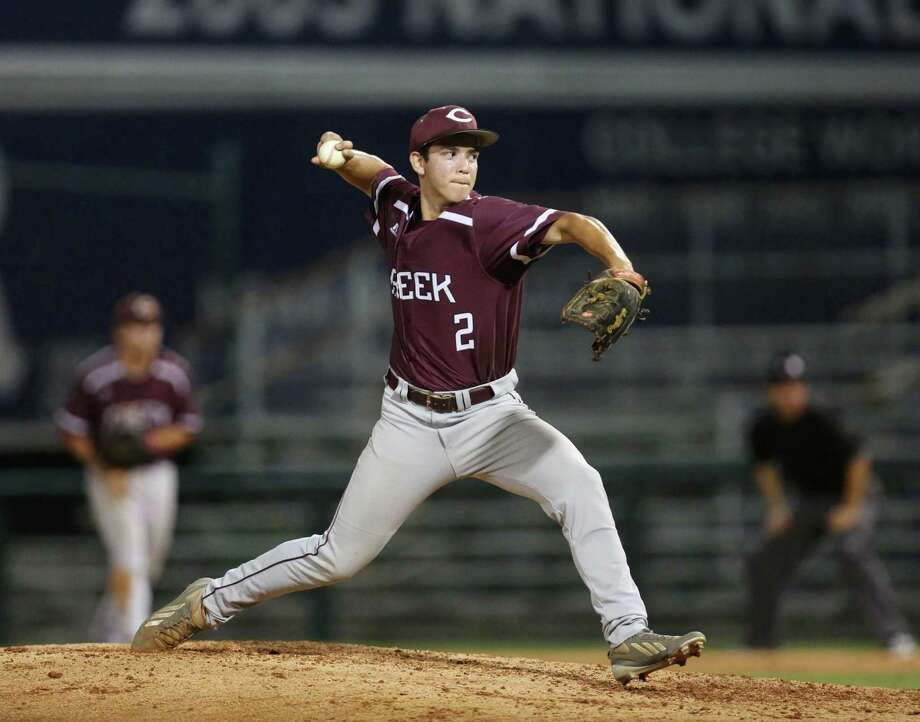Clear Creek's Aron Solis pitches in game 2 of the Class 6A Region 3 Finals at Reckling Park Friday, June 5, 2015, in Houston. ( Jon Shapley / Houston Chronicle ) Photo: Jon Shapley, Staff / © 2015 Houston Chronicle